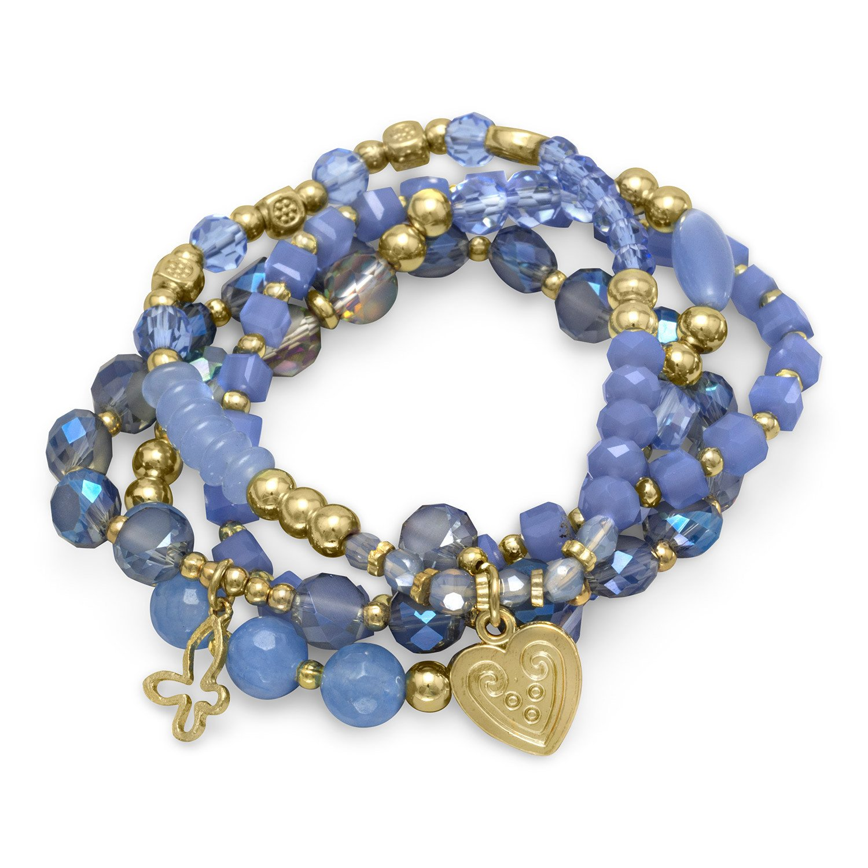 Set of 4 Gold Tone Multicharm Fashion Stretch Bracelets with Blue Stones
