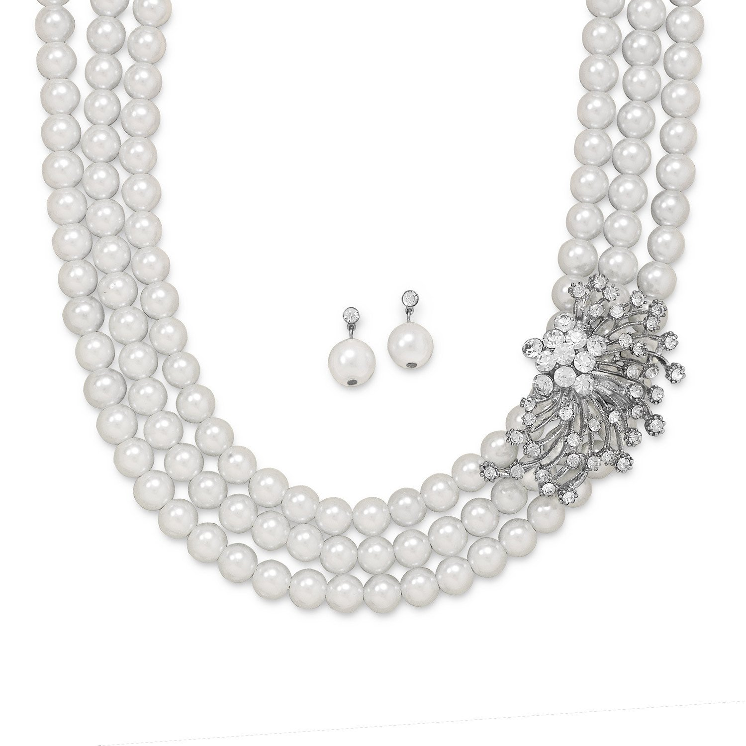 18″+ 2″ Glass Pearl and Crystal Fashion Necklace and Earring Set
