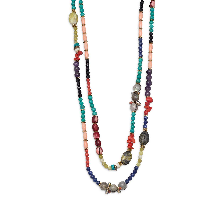 64″ + 2″ Multistone Fashion Necklace