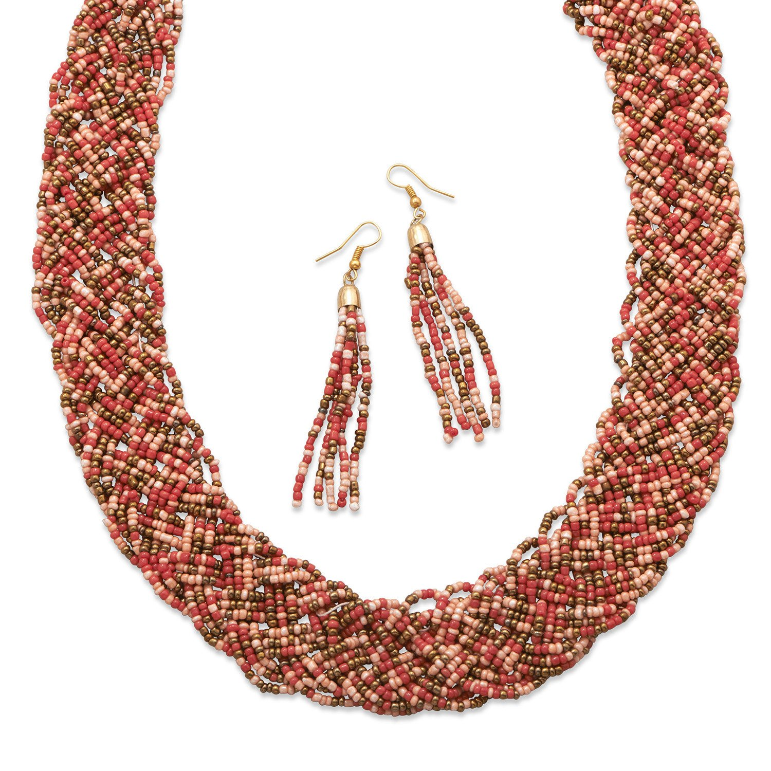 Woven Coral Glass Seed Bead Fashion Necklace and Earring Set