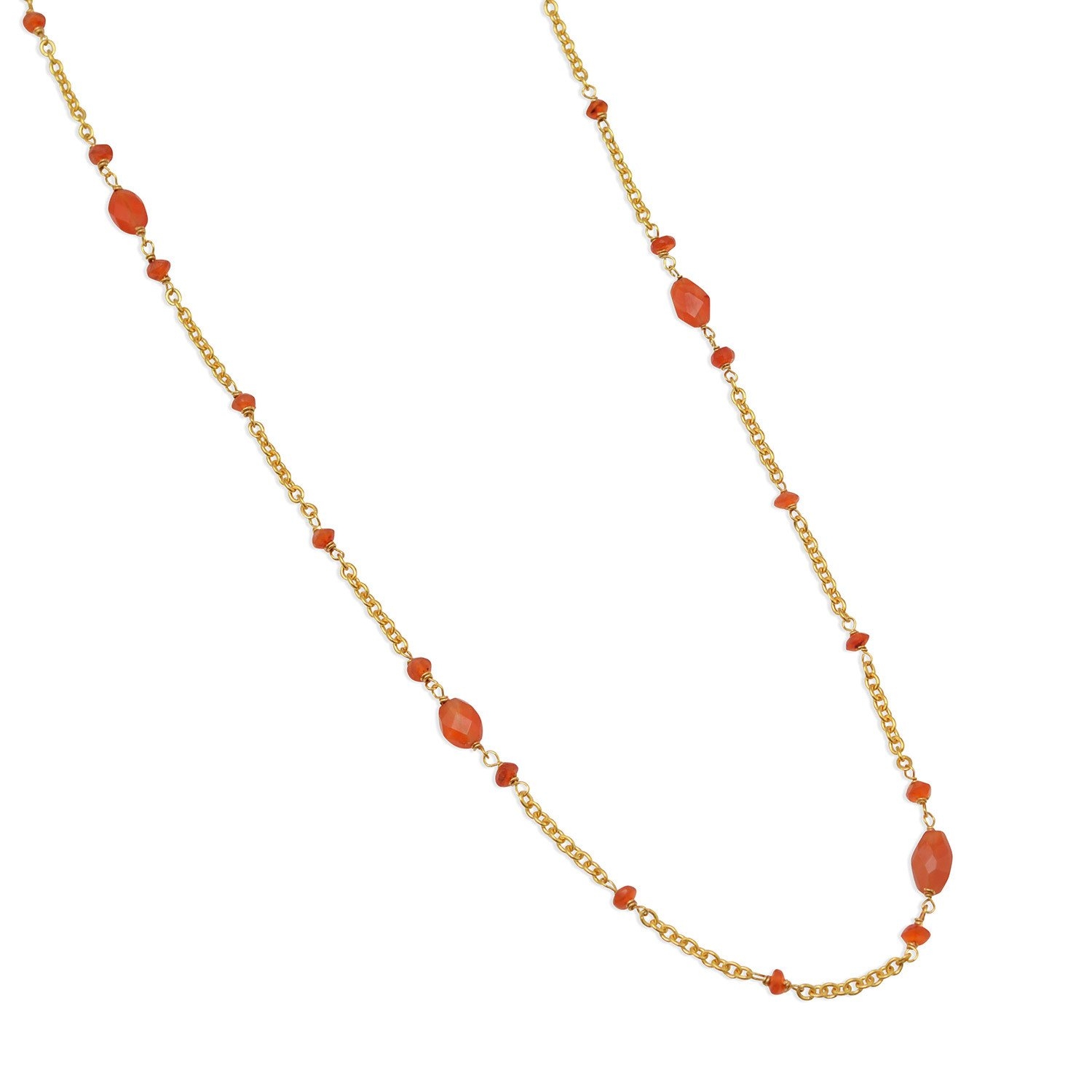 36″ Ultra Long 14 Karat Gold Plated Brass Necklace with Carnelian Beads