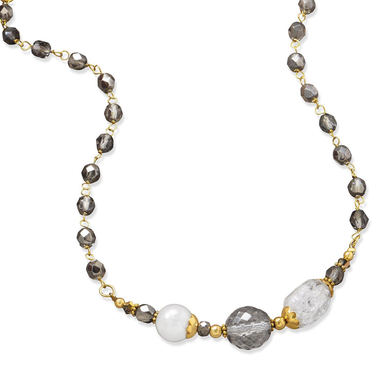 16″ + 2″ Gold Tone Multistone Fashion Necklace