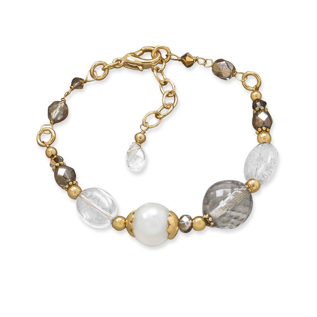 7.75″ + 1″ Gold Tone Multistone Fashion Bracelet