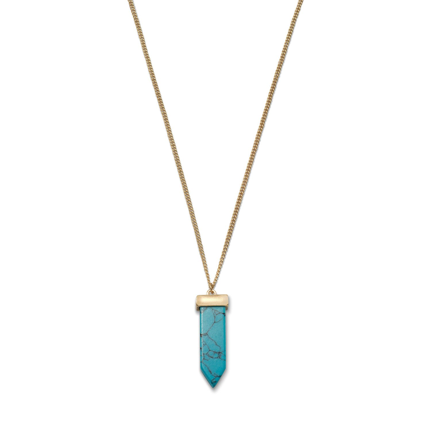 14 Karat Gold Plated Magensite Spike Fashion Necklace
