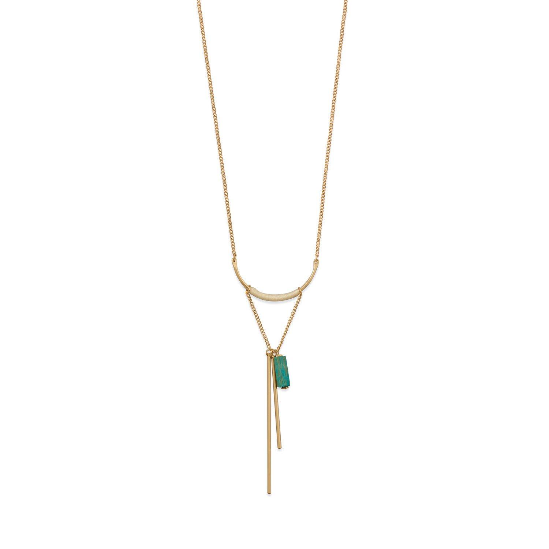 "14 Karat Gold Plated ""U"" Design with Long Bar Drop Fashion Necklace"