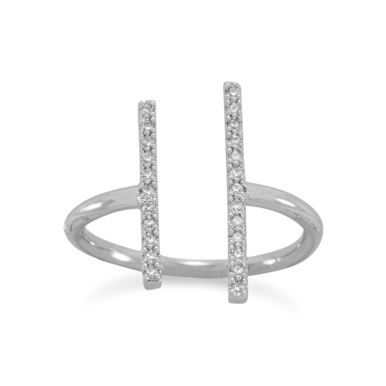 Rhodium Plated Brass CZ Bar Fashion Ring