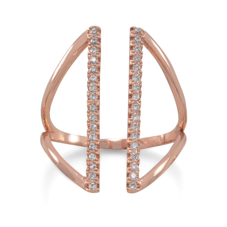14 Karat Rose Gold Plated CZ Bar Fashion Ring