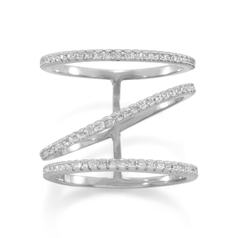 Rhodium Plated CZ Three Row Fashion Ring
