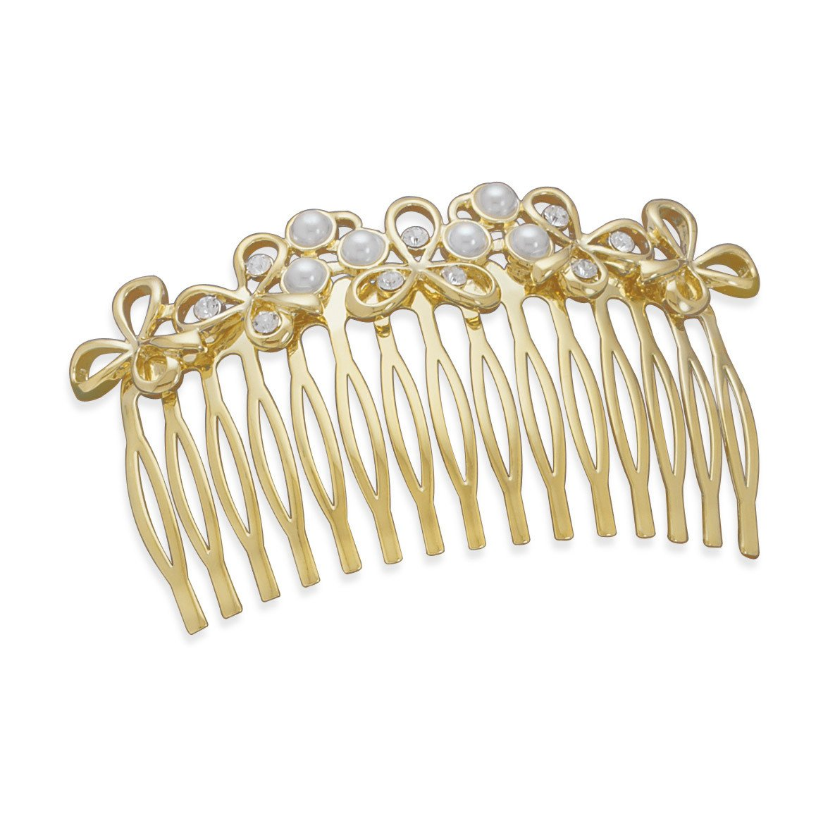 3″ Multistone 14 Karat Gold Plated Fashion Hair Comb