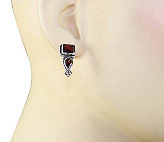 Garnet Stud Earrings with Post in 92.5 Sterling Silver