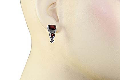 Garnet Stud Earrings with Post in 92.5 Sterling Silver