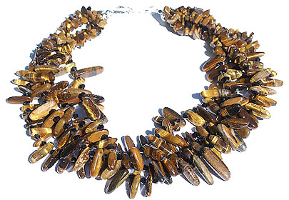 Tiger Eye Multistrand Cluster Necklace