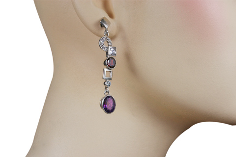amethyst garnet earrings post silver