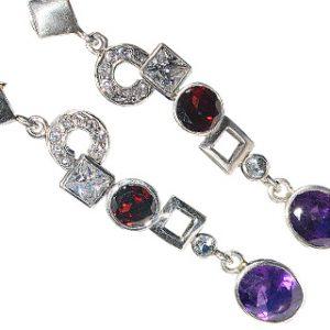amethyst garnet earrings
