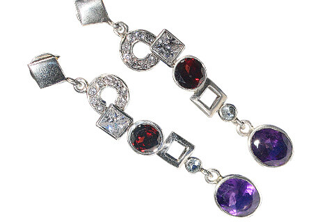 Faceted Amethyst Garnet Multi-Stone Post Earrings in 92.5 Sterling Silver