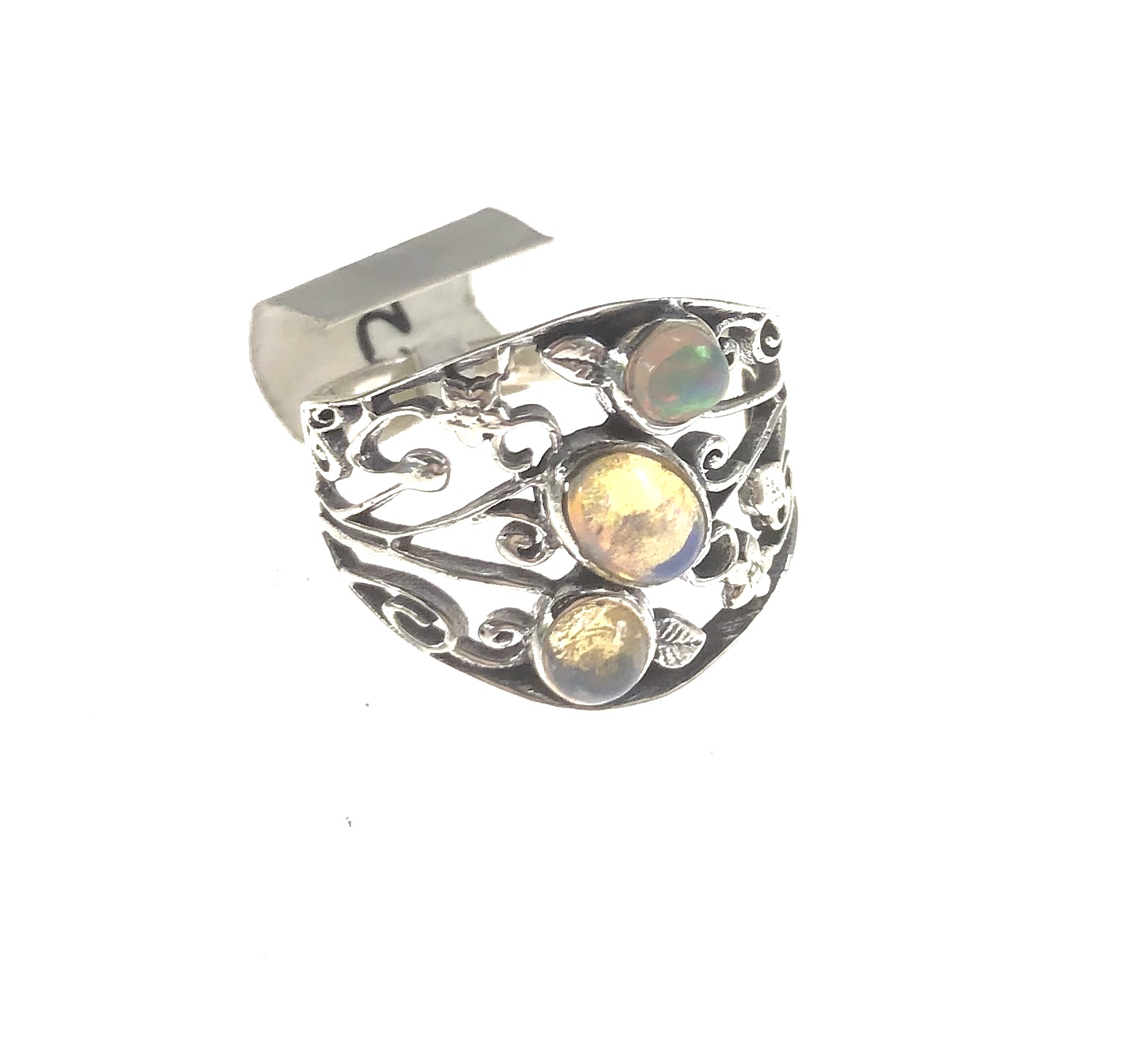 Ethiopian opal ring 3 stone sterling silver