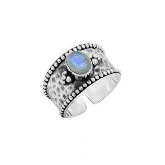 Blue Fire Labradorite Sterling Silver Vintage Boho Design Black Oxidised Cocktail Adjustable Cuff Ring
