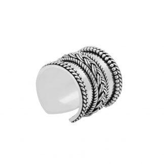 Sterling Silver Black Oxidized Vintage Cuff Boho Antique Cocktail Adjustable Ring