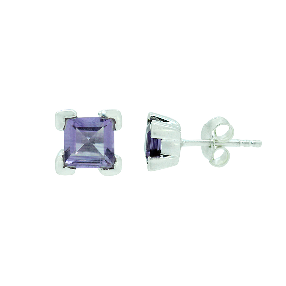 Purple Amethyst Square Studs Earrings