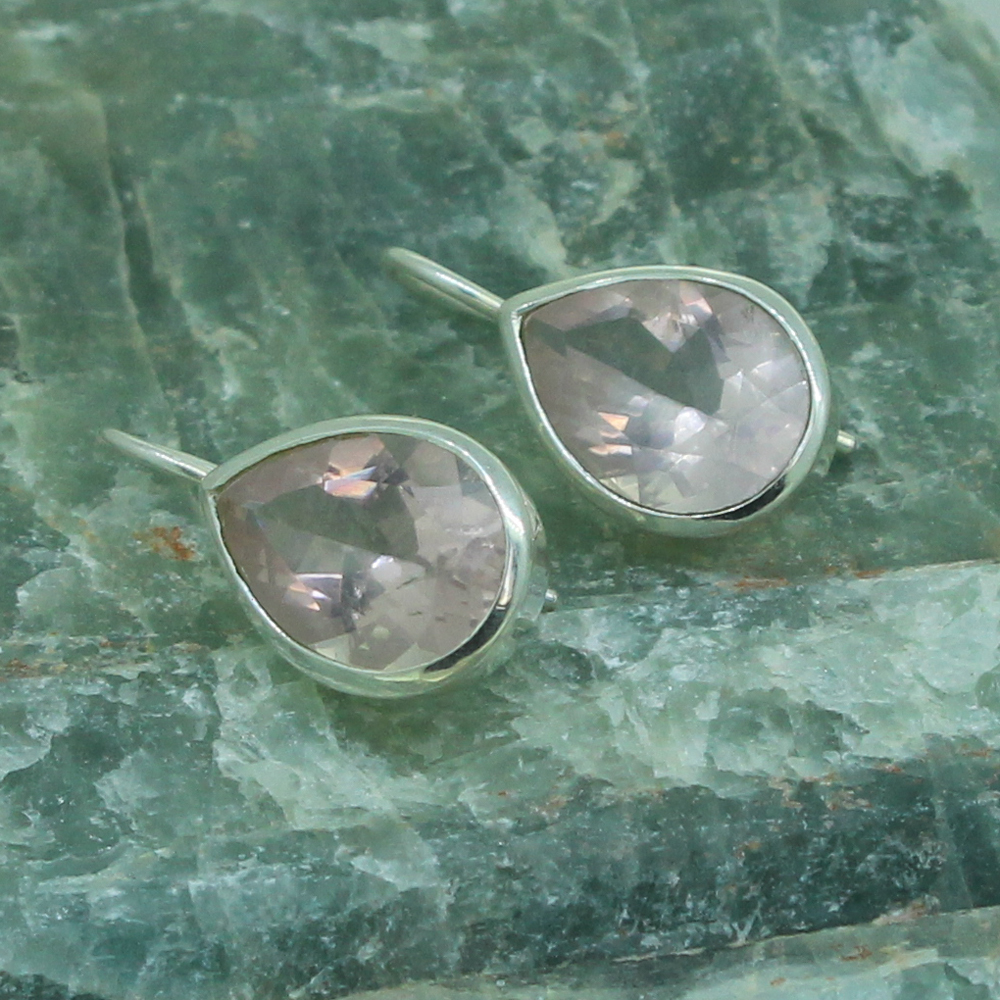Rose Quartz Sterling Silver Earrings