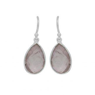 Pink Rose Quartz Pear Earrings