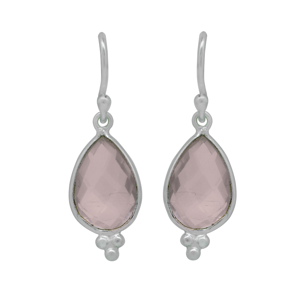 Rose Quartz Dangle Earrings Sterling Silver