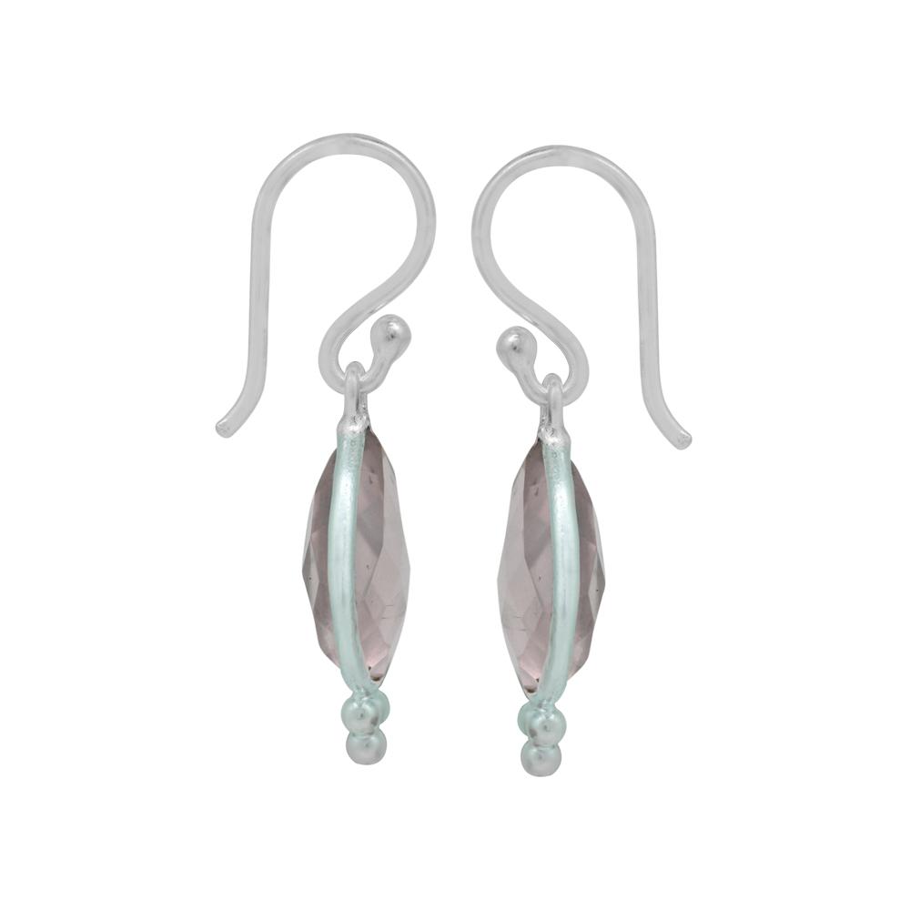 Rose Quartz Dangle Earrings Sterling Silver