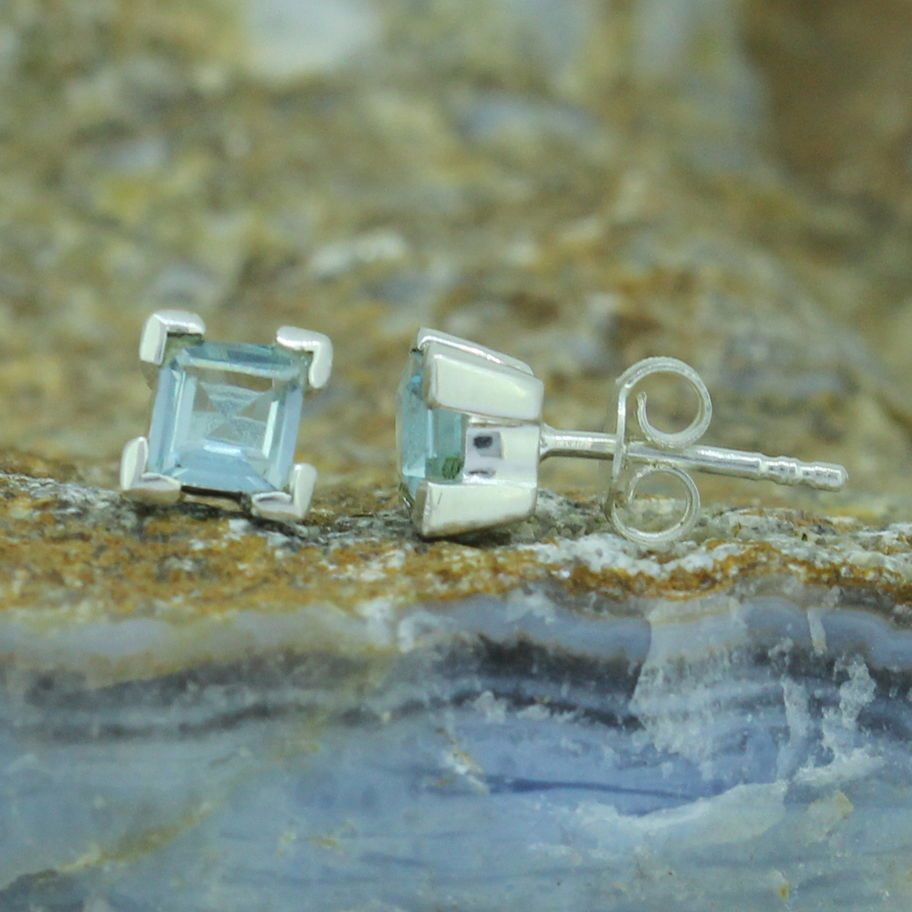 Blue Topaz Studs Earrings