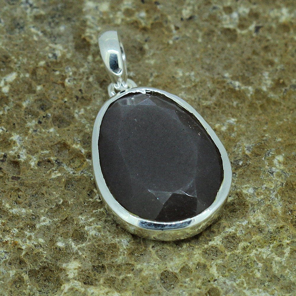 Chocolate Moonstone Fancy Shape Silver Pendant