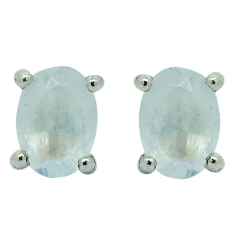 Rainbow Moonstone Sterling Silver Studs Earrings