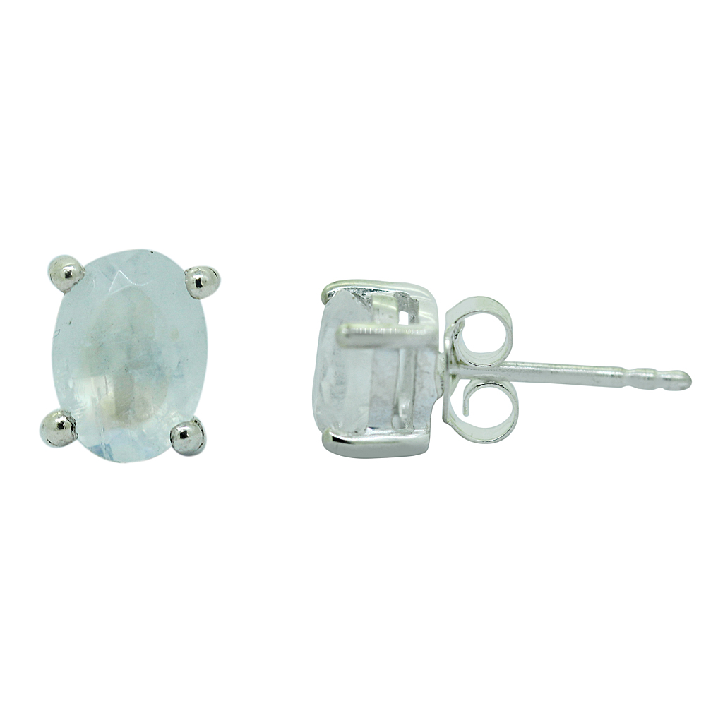 Rainbow Moonstone Sterling Silver Studs Earrings