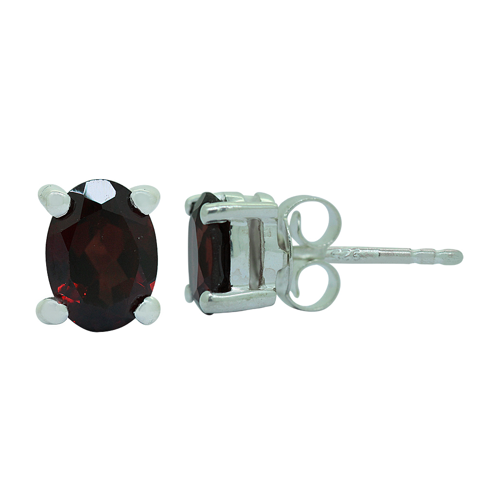 Red Garnet Studs Earrings