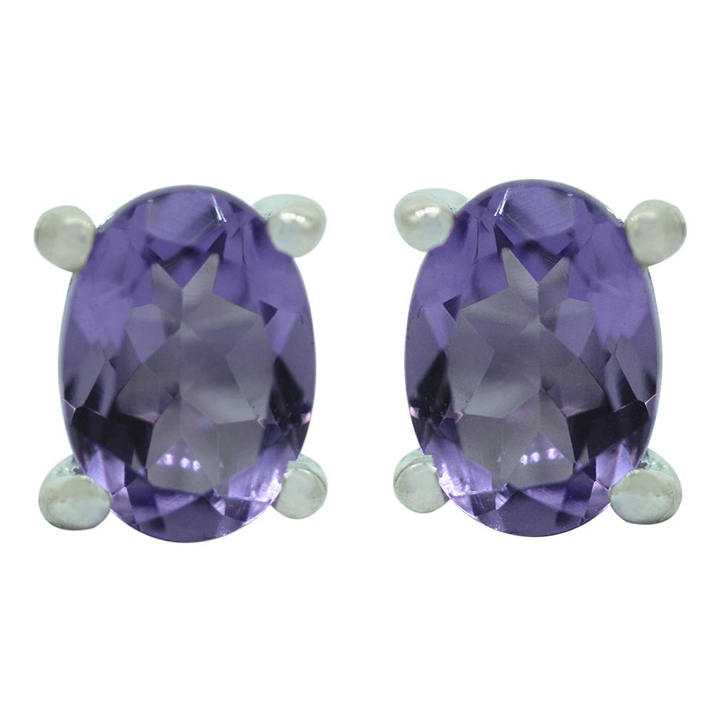 Amethyst Oval Studs Earrings