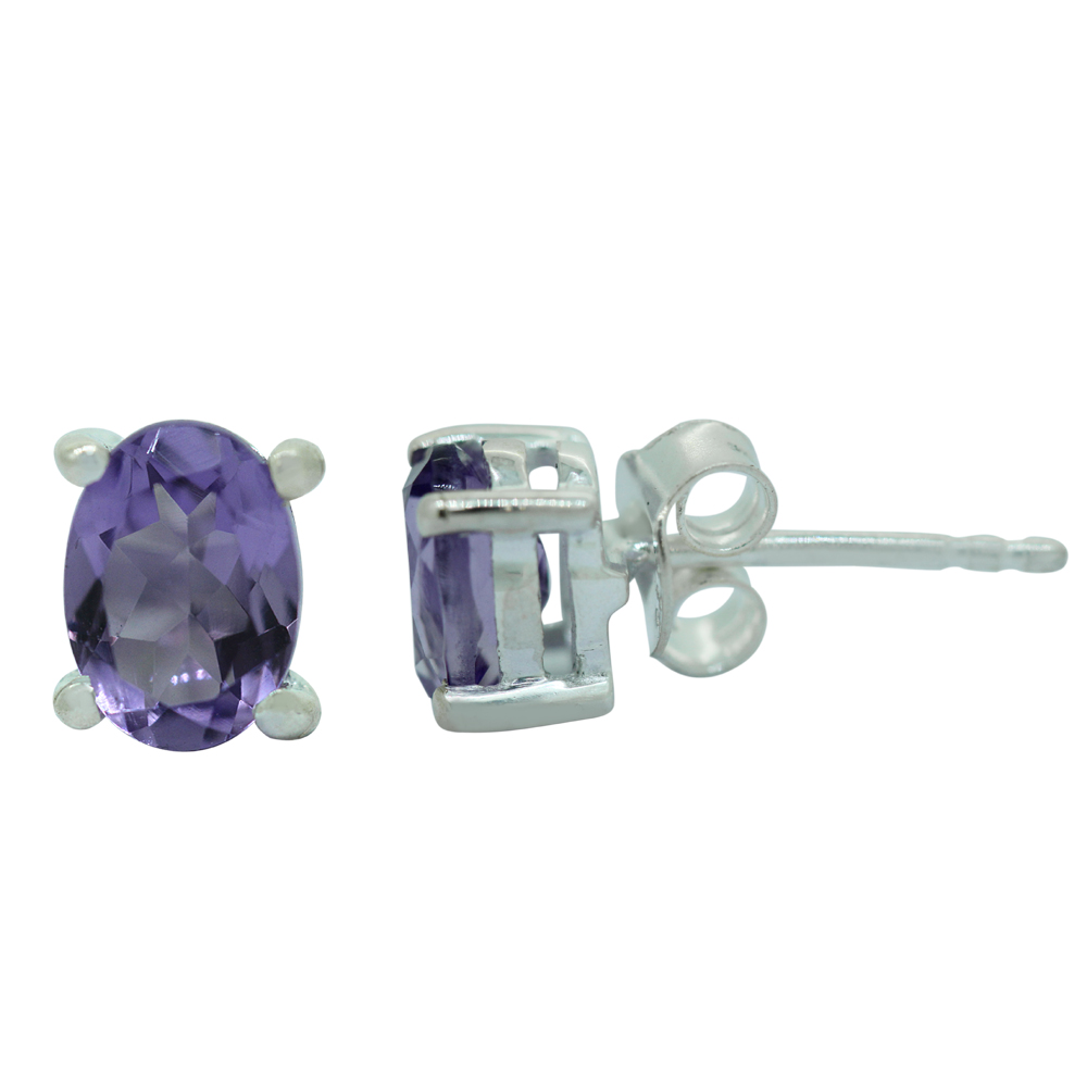 Amethyst Oval Studs Earrings