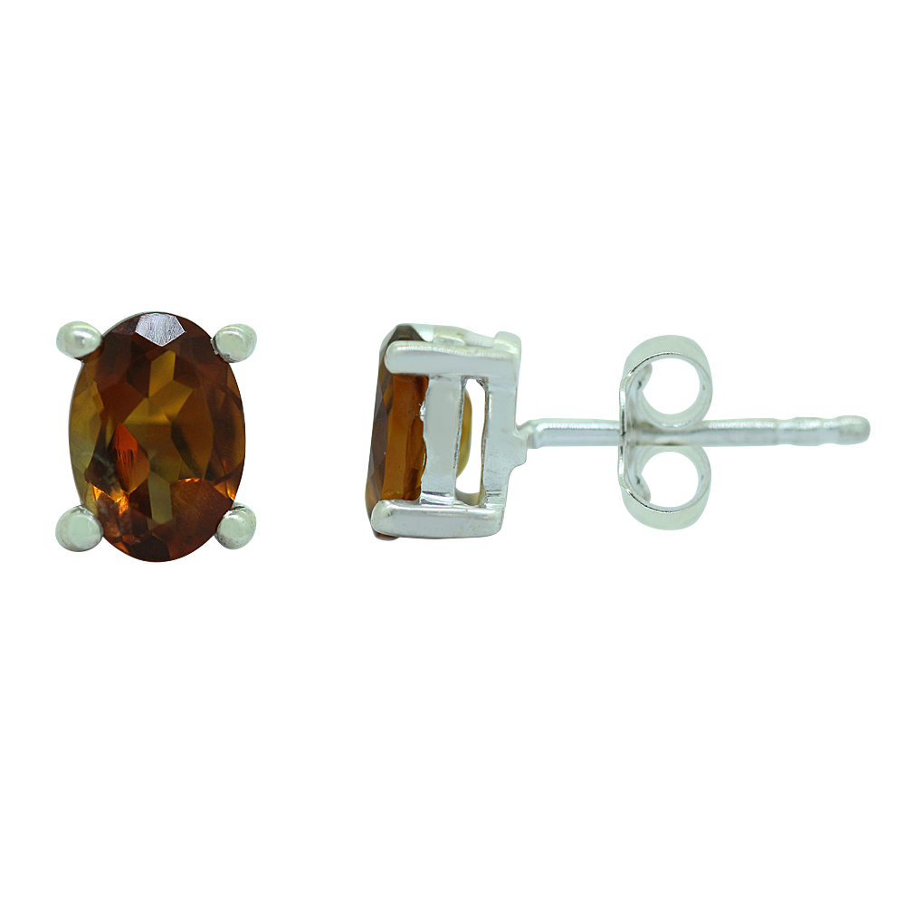Citrine Gemstone Sterling Silver Studs Earrings
