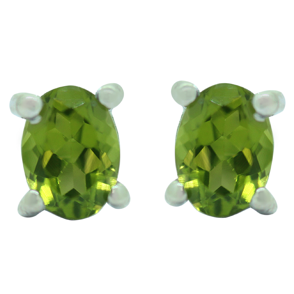 Green Peridot Sterling Silver Studs Earrings