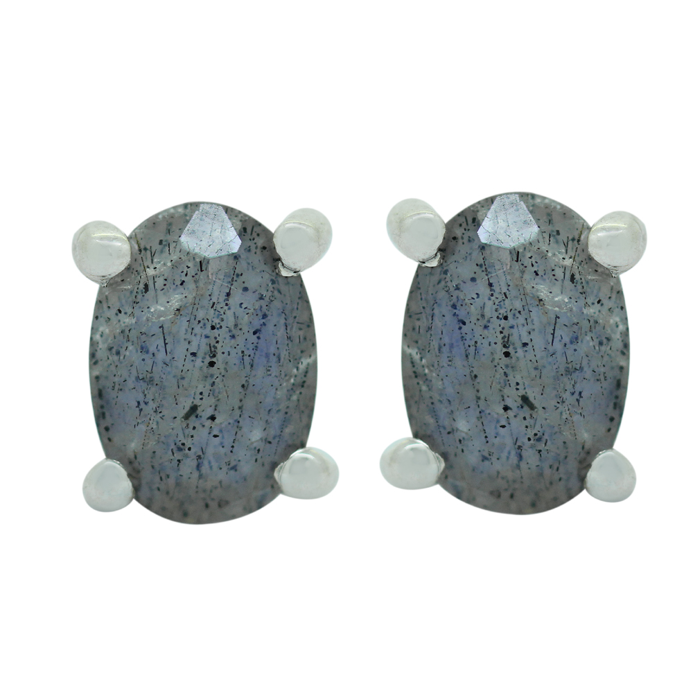Labradorite Silver Studs Earrings