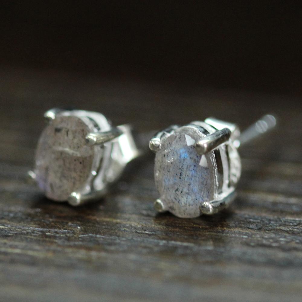 Labradorite Silver Studs Earrings