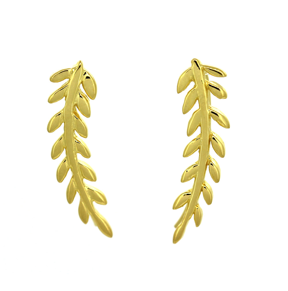 Leaf Design Silver Gold Pleated Clip Earrings