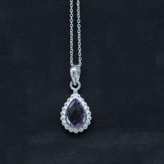 Purple Amethyst Pendant Sterling Silver Jewelry