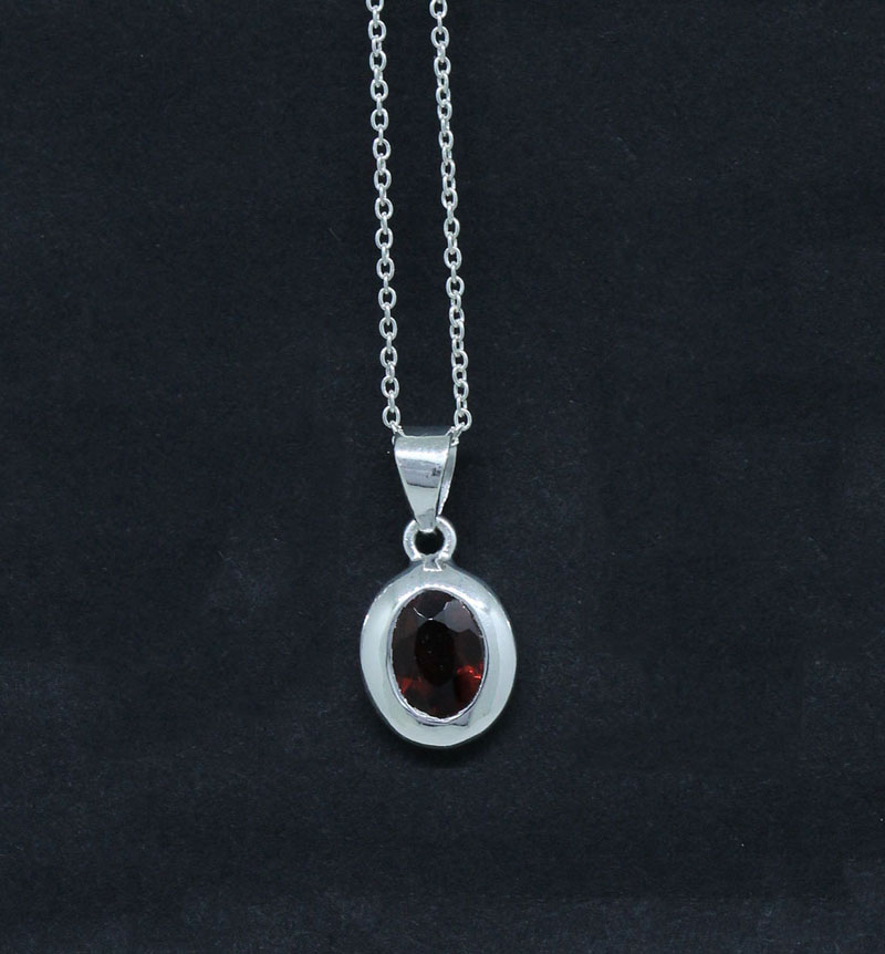 Garnet Oval Shape Pendant Sterling Silver