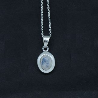 White Moonstone Oval Shape Pendant Sterling Silver 925 Jewelry