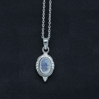 Rainbow Moonstone Pendant Vintage Design Sterling Silver Jewelry