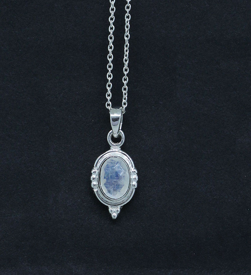 Rainbow Moonstone Pendant Vintage Design Sterling Silver Jewelry