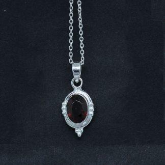 Garnet Pendant Vintage Design Sterling Silver Jewelry